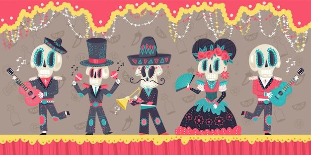 Illustrazione del fumetto di vettore di festa messicana del giorno dei morti con scheletri e strumenti musicali. Vettore Premium
