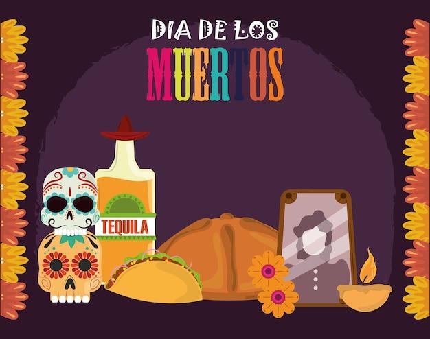 Giorno dei morti, foto cornice bottiglia di tequila pane taco candela, celebrazione messicana illustrazione vettoriale Vettore Premium