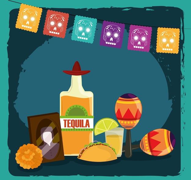 Giorno dei morti, foto cornice tequila maracas taco e fiore, celebrazione messicana Vettore Premium
