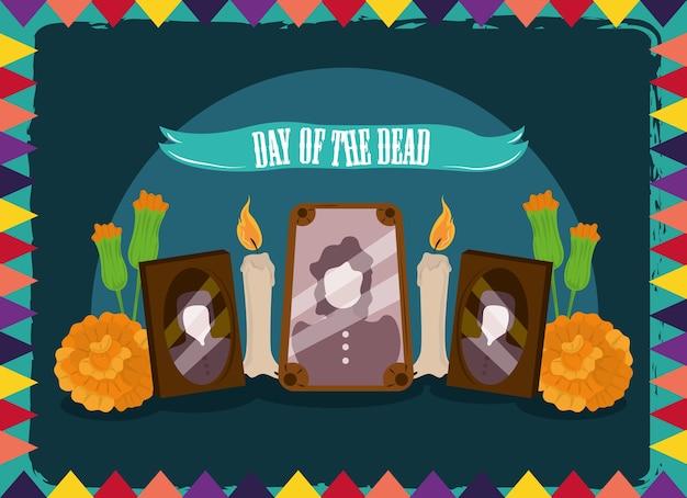 Giorno dei morti, foto cornici candele e fiori, illustrazione vettoriale celebrazione messicana Vettore Premium