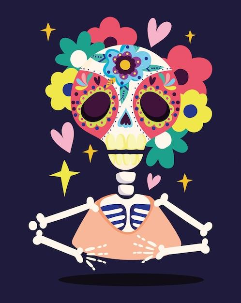 Giorno dei morti, scheletro teschio fiori decorazione tradizionale celebrazione messicano Vettore Premium
