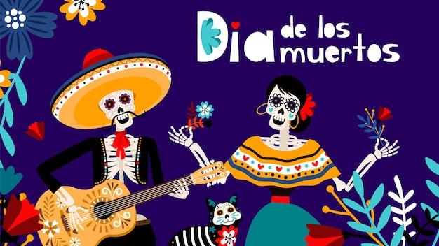 Giorno dei morti in spagnolo, tradizionale festival messicani sfondo di colore con scheletri e illustrazione vettoriale gatto. sfondo di dia de los muertos Vettore Premium