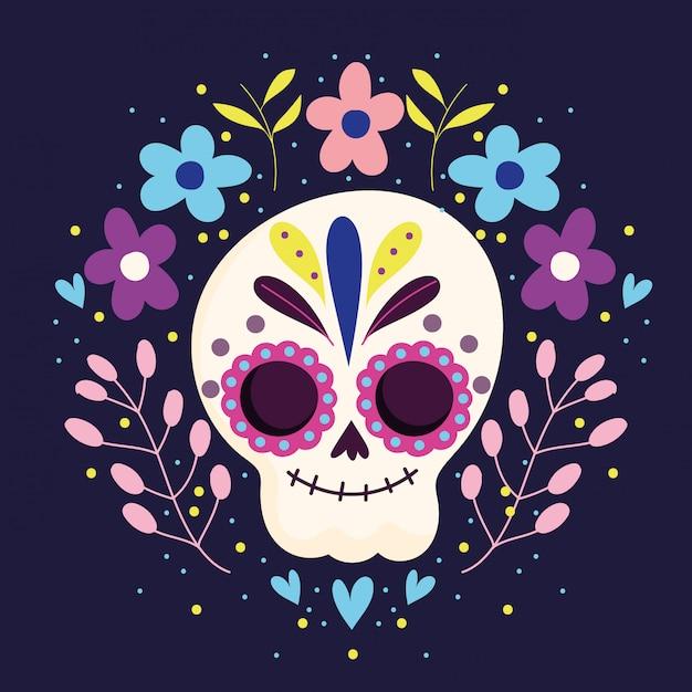 Giorno dei morti, scheletro di zucchero carattere tradizionale celebrazione messicana Vettore Premium