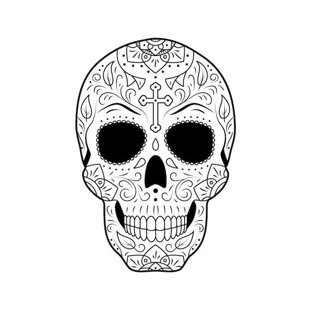 Day of the dead sugar skull con ornamenti floreali dettagliati Vettore Premium