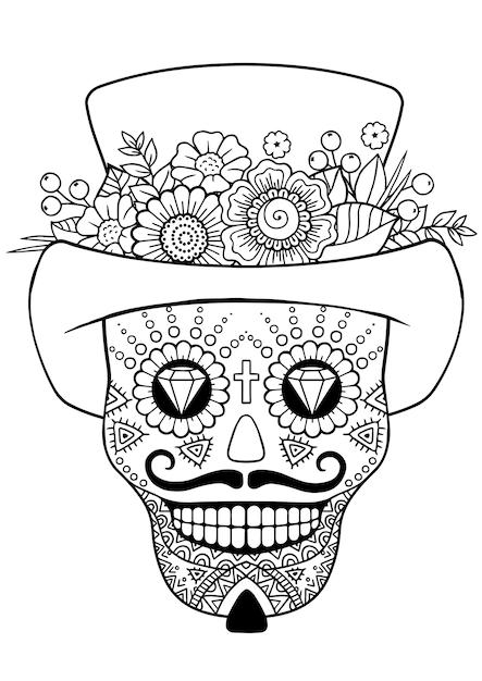 Giorno dei morti, zentangle sugar skull. libro da colorare adulto di vettore Vettore Premium
