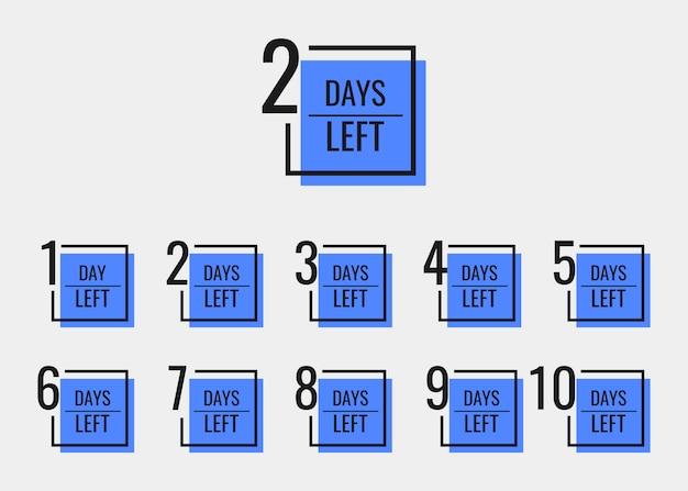 I giorni restano da 1 a 10. modello di progettazione di banner geometrici per le tue esigenze. Vettore Premium