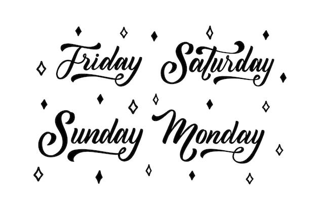 Collezione di lettere di giorni della settimana, mesi e stagioni Vettore Premium