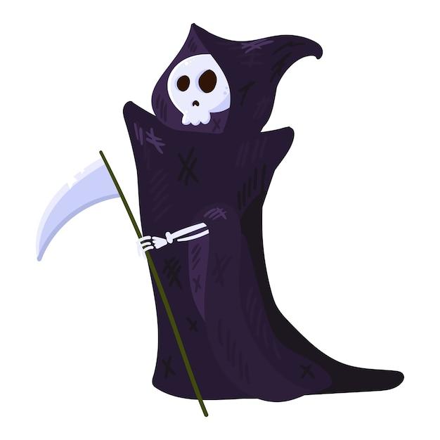 Morte con falce, scheletro che indossa un mantello. carattere di halloween isolato Vettore Premium