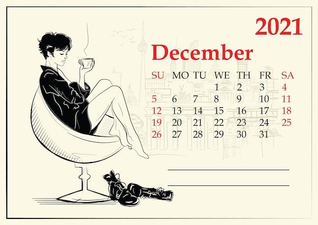 Dicembre. calendario con fashion girl in stile schizzo. Vettore Premium