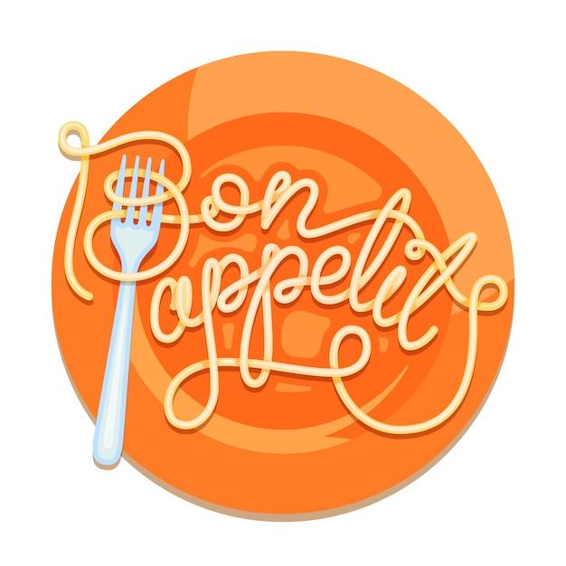 Iscrizione decorata bon appetit. Vettore Premium