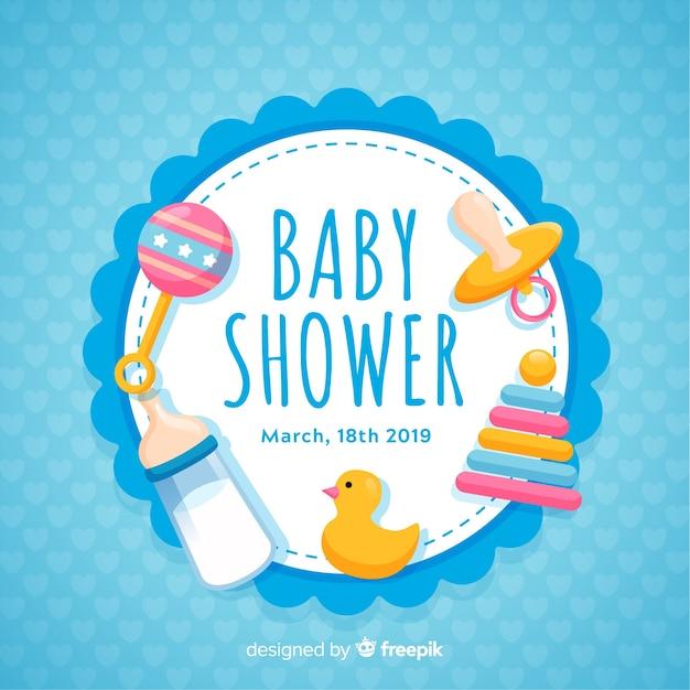 Concetto decorativo della doccia di bambino Vettore Premium