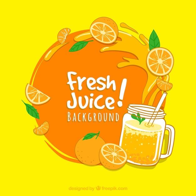 Sfondo decorativo con succo d'arancia e spruzzi Vettore Premium
