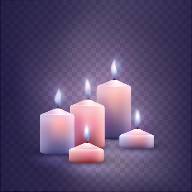 Set di candele accese decorative. Vettore Premium