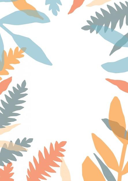Modello di carta decorativa con cornice o bordo fatto di foglie colorate traslucide di piante forestali Vettore Premium