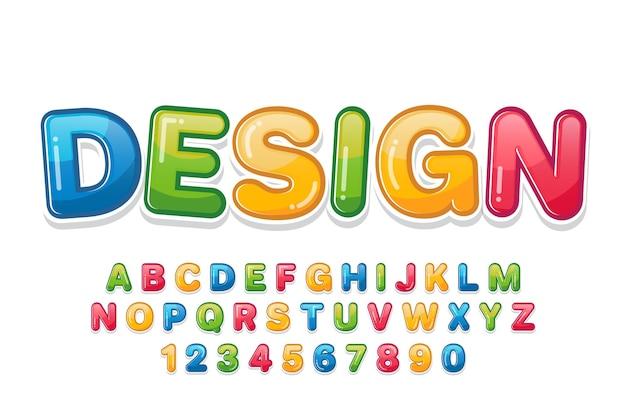 Carattere colorato decorativo e alfabeto Vettore Premium