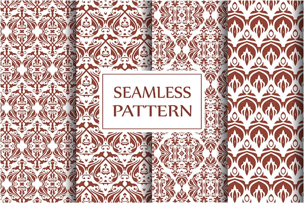 Set di motivi damascati decorativi. ornamento vintage, fiori barocchi e ornamenti floreali ornati veneziani d'argento senza cuciture Vettore Premium