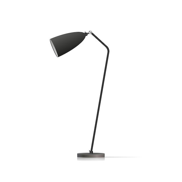 Lampada da terra decorativa. modello originale con paralume nero e gamba in metallo. illustrazione su uno sfondo bianco. Vettore Premium