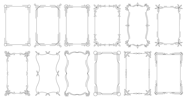 Cornici decorative. bordi antichi calligrafici vintage. Vettore Premium