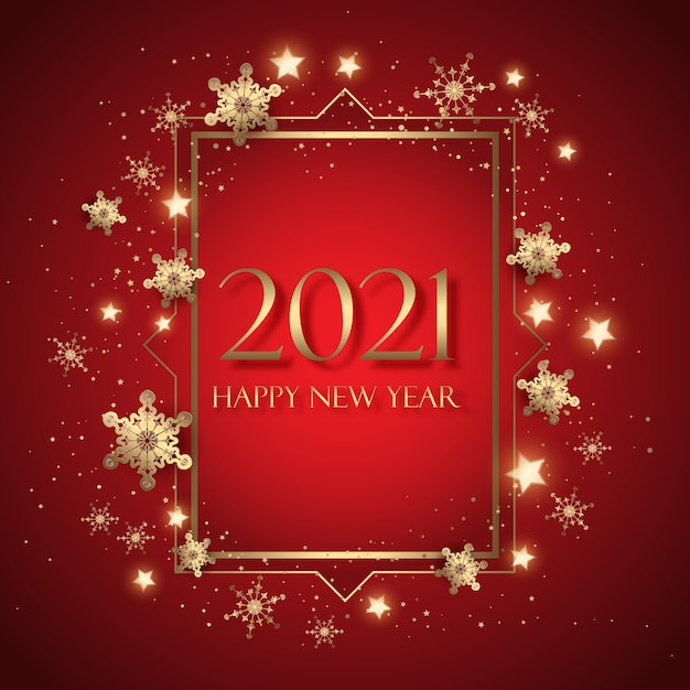 Cartolina d'auguri di felice anno nuovo decorativo con design di fiocchi di neve e stelle Vettore Premium