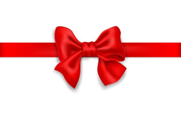 Fiocco rosso decorativo con nastro rosso orizzontale. Vettore Premium