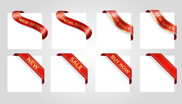 Insegna rossa decorativa di vendita isolata su fondo. Vettore Premium