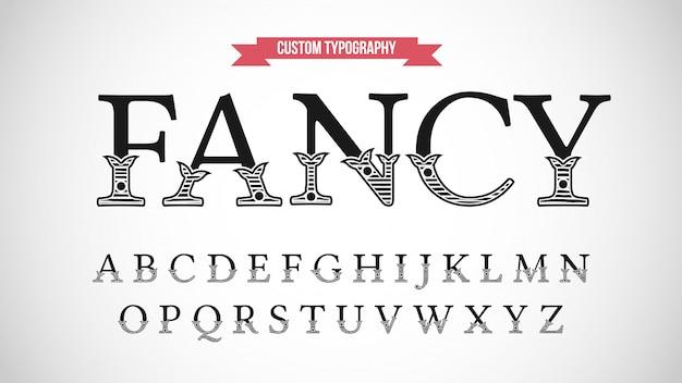 Tipografia serif display decorativo retrò Vettore Premium