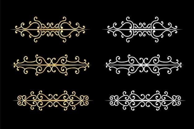 Turbinii decorativi divisori vecchio delimitatore di testo, ornamenti calligrafici di turbinio e divisore vintage, bordi retrò. Vettore Premium