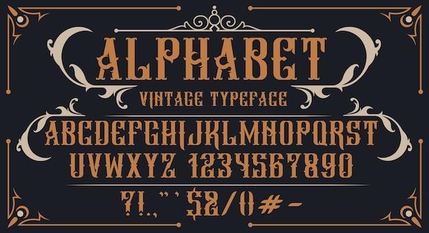 Alfabeto vintage decorativo. perfetto per marchi, etichette di alcol, loghi, negozi e molti altri usi. Vettore Premium