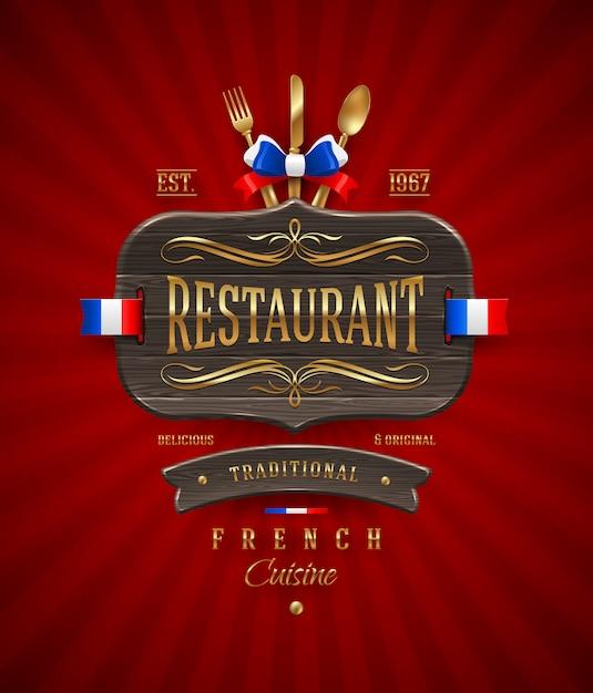 Cartello in legno vintage decorativo del ristorante francese con decorazioni e scritte dorate Vettore Premium
