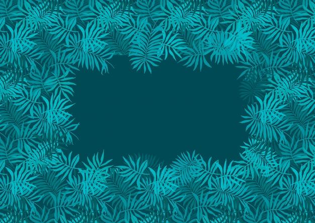 Cornice verde smeraldo profondo di foglie tropicali di felce Vettore Premium