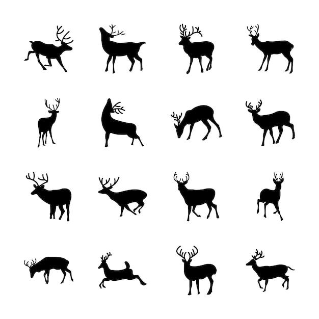 Set di icone animali cervi Vettore Premium