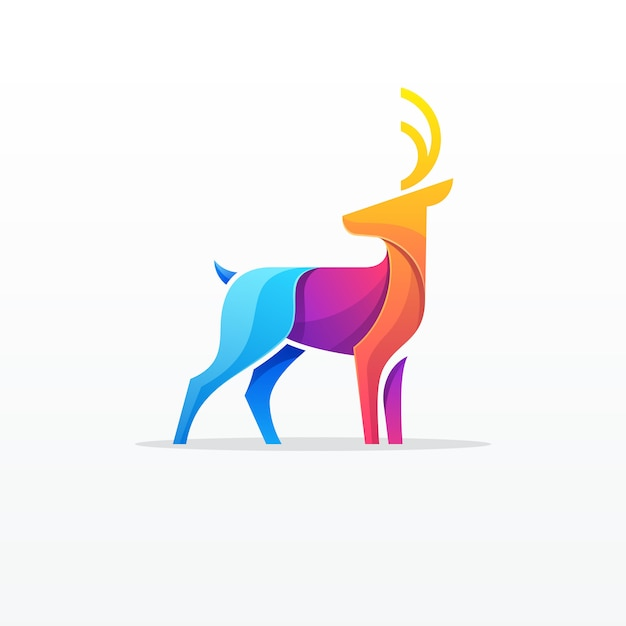 Logo colorato di cervi Vettore Premium