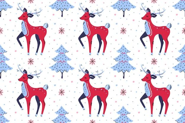Cervi con alberi di natale. seamless pattern, texture, sfondo. buon natale felice anno nuovo. Vettore Premium