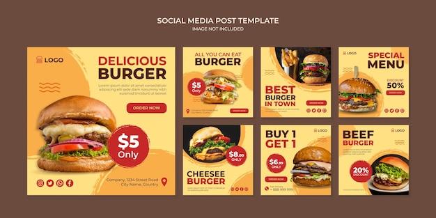 Modello di post instagram social media delizioso hamburger per ristorante fast food Vettore Premium