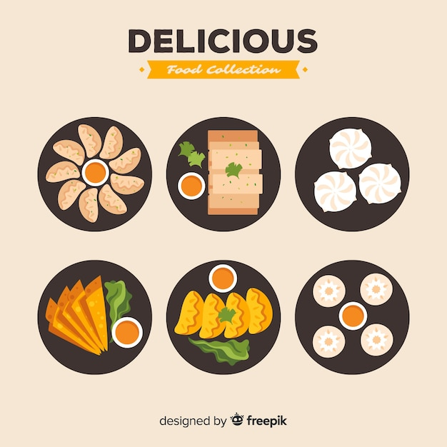 Collezione di cibo delizioso Vettore Premium