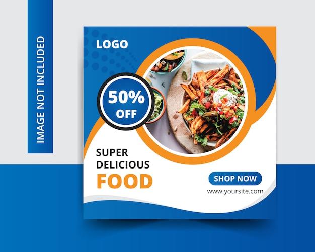 Post di social media di cibo delizioso ristorante Vettore Premium