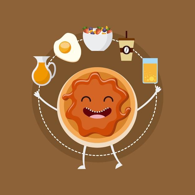 Carattere delizioso e nutriente per la colazione Vettore Premium