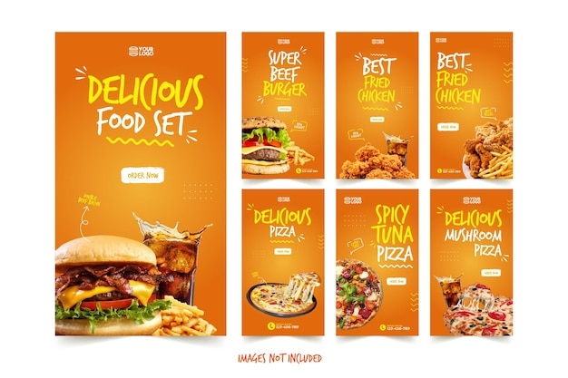 Delicious pizza and burger instagram story template Vettore Premium