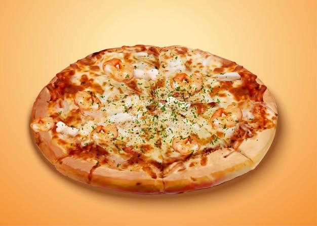 Deliziosa pizza di pesce con formaggio e ingredienti ricchi in 3d'illustrazione Vettore Premium