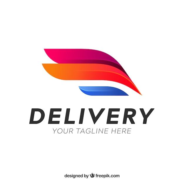 Modello di logo di consegna con effetto sfumato Vettore Premium