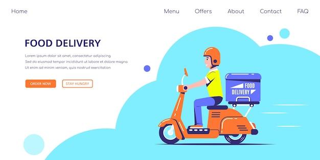 Delivery man ride scooter moto con una scatola Vettore Premium