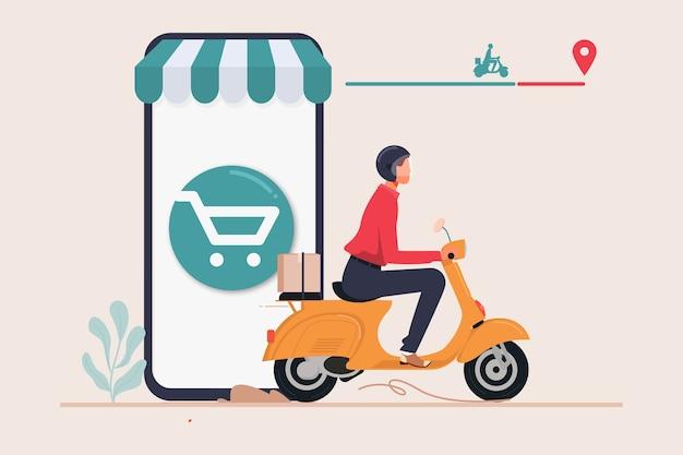 Servizio di consegna degli ordini del negozio online Vettore Premium