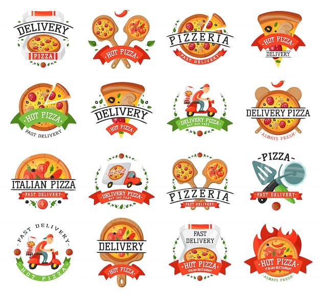Distintivo per pizza consegna Vettore Premium