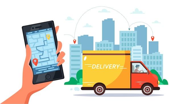 Concetto di servizio di consegna in camion, corriere che guida in camion, mano che tiene smartphone con monitoraggio online. Vettore Premium