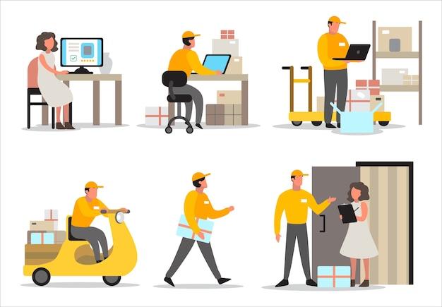 Concetto di servizio di consegna. set di fattorino in viaggio verso il cliente. ritiro del corriere in scatola di contenimento uniforme. Vettore Premium