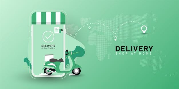 Negozio di consegna a domicilio con trasporto moto su cellulare. Vettore Premium
