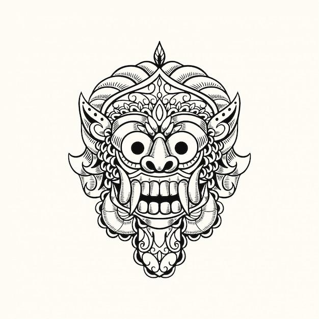 Illustrazione di progettazione della maglietta di bali indonesia della maschera del demone Vettore Premium
