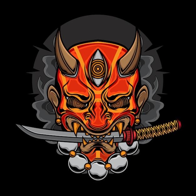 Illustrazione di katana maschera demone oni Vettore Premium