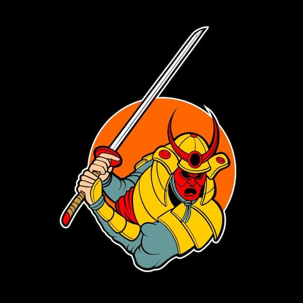 Logo del demone samurai Vettore Premium