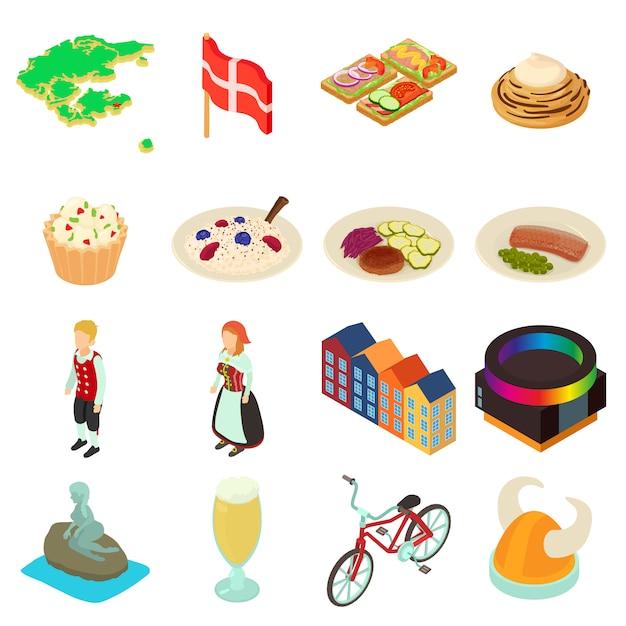 Set di icone di viaggio danimarca. un'illustrazione isometrica di 16 icone di vettore di viaggio della danimarca per il web Vettore Premium